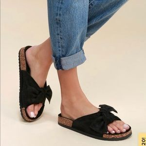 Lulu's Campo black suede knotted slide sandals